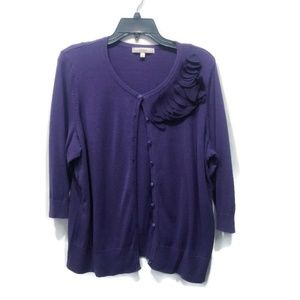 Sejour Purple Embellished Cardigan 1X Cotton